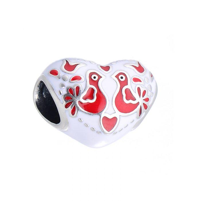 Frozen Lovebirds Heart Charm
