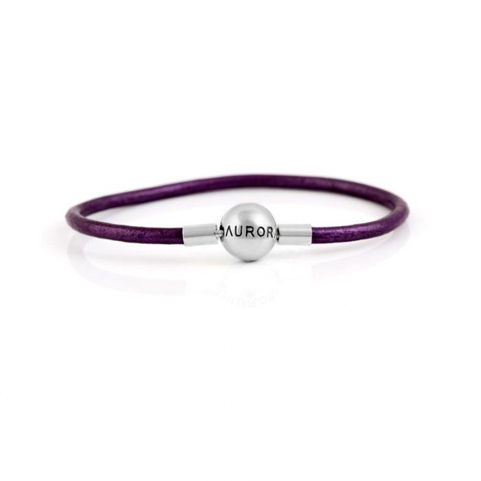 Single Purple Leather Bracelet