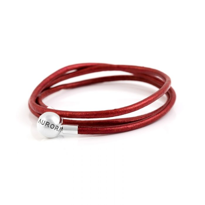 Red Triple Leather Bracelet