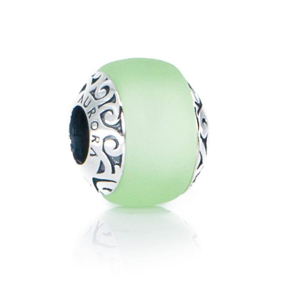 Tahiti Island Green Sea Glass Bead Aurora Charm