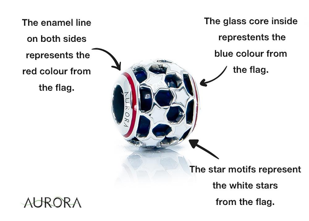 American Patriot Glass Bead
