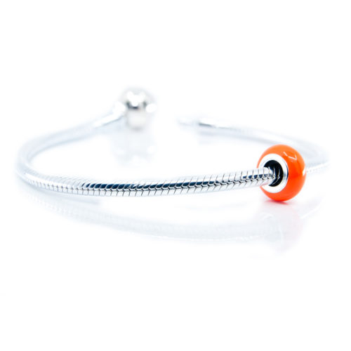 Orange Enael Stopper on Bracelet