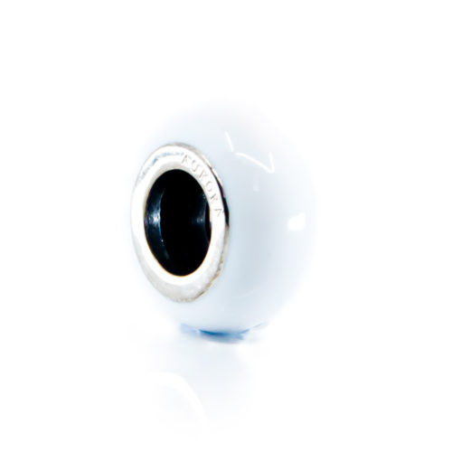 white enamel stopper spacer charm