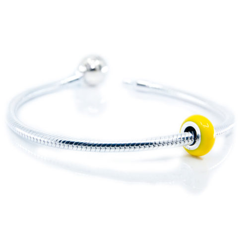 Yellow Enamel Stopper on Bracelet
