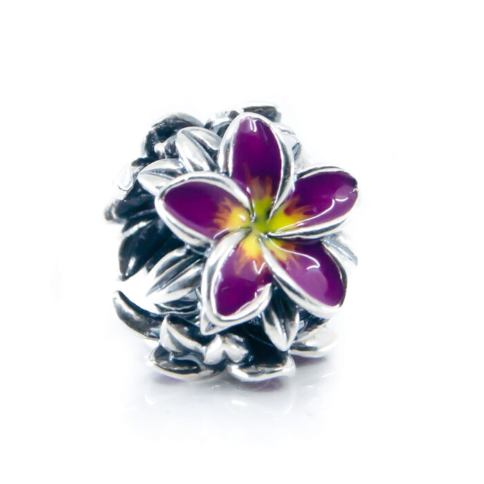 purple frangipani flower charm