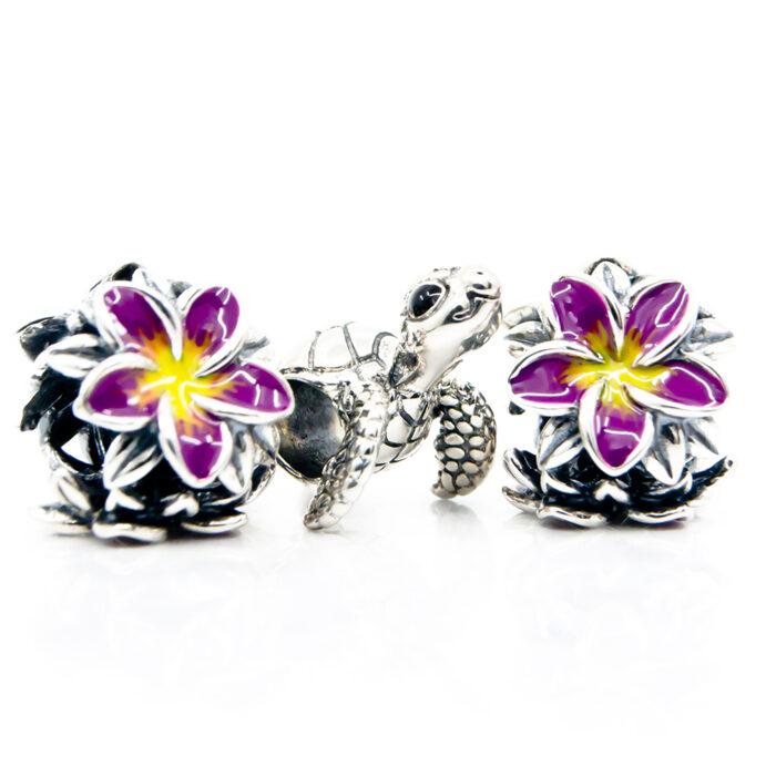 frangipani and turtle charms set