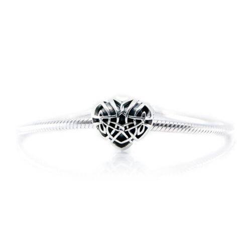 celtic heart charm on bracelet