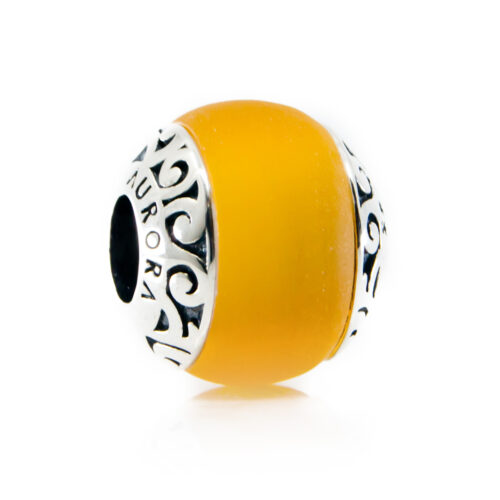 Hiva Oa yellow glass bead