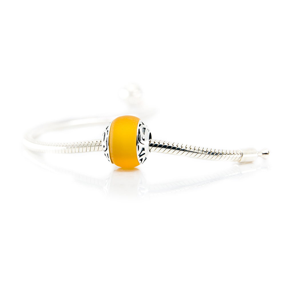 Hiva Oa yellow glass bead on bracelet